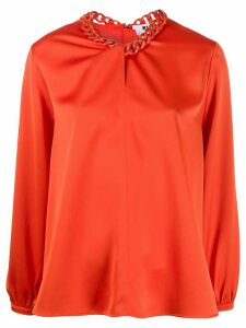 MSGM chain-neckline satin blouse - ORANGE