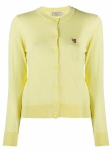 Maison Kitsuné embroidered logo round neck cardigan - Yellow