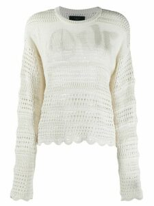 AMIRI Love-intarsia crochet sweatshirt - NEUTRALS