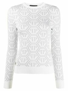 Philipp Plein logo print long sleeve knitted top - White