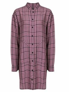 colville asymmetric hem checked shirt - PINK