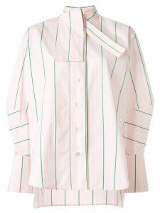 Palmer//Harding tie-neck striped poplin shirt - PINK