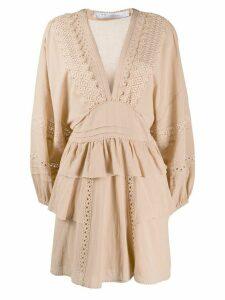 IRO Figons embroidered mini dress - NEUTRALS