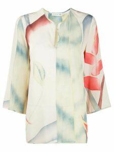 Etro Foliage print tunic blouse - NEUTRALS