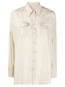 Brunello Cucinelli western-panel patch pocket shirt - NEUTRALS