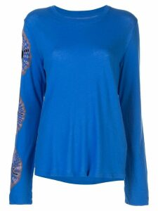 Raquel Allegra embroidered long-sleeve top - Blue