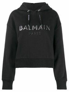 Balmain logo-print cropped hoodie - Black