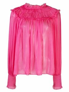 Ulla Johnson Arabella ruffle neck blouse - PINK