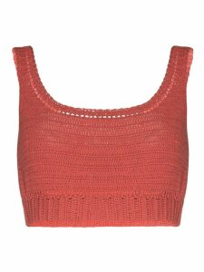 She Made Me Indra crocheted cotton crop top - PINK