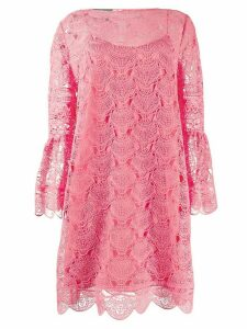 Alberta Ferretti lace embroidered mini dress - PINK