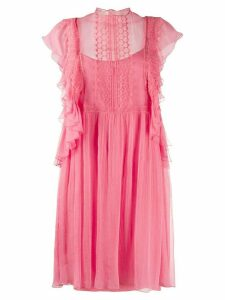 Alberta Ferretti ruffle sleeved mini shift dress - PINK