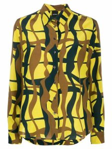 Aspesi abstract print silk shirt - Yellow