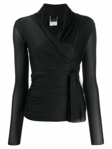 Pinko wrap-front stretch top - Black