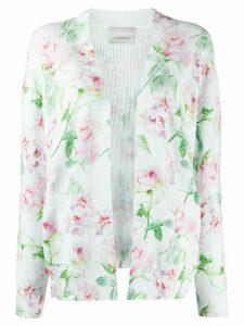 Laneus distressed-hem rose-print cardigan - White