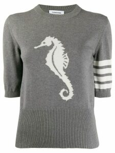 Thom Browne seahorse detail knitted top - Grey