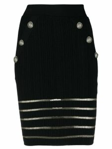 Balmain openwork knit short skirt - Black