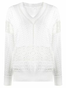 See by Chloé bobble knit lace jumper - White