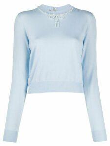 Miu Miu pearl-embellished jumper - Blue