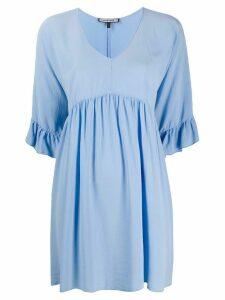 Fisico ruffle cuff silk dress - Blue
