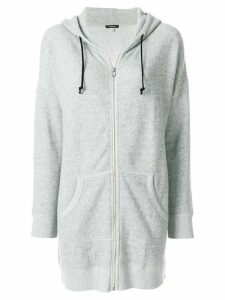 R13 longline zipped hoody - Grey
