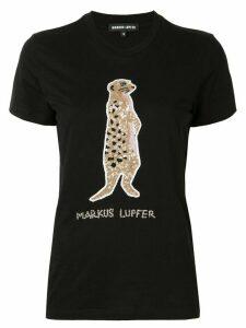 Markus Lupfer sequin meerkat T-shirt - Black