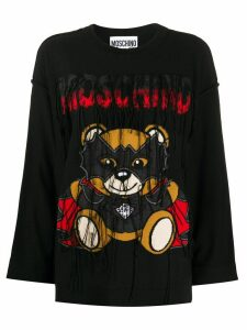 Moschino Bat Teddybear fringed sweatshirt - Black