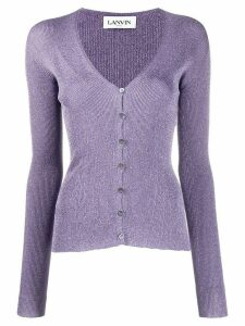 LANVIN metallic ribbed cardigan - PURPLE