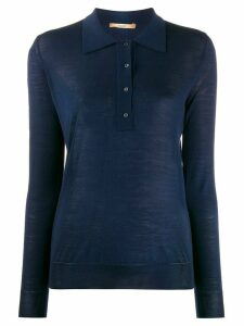 Nuur fine knit polo jumper - Blue