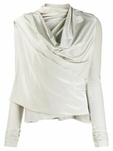 Rick Owens Lilies draped cowl-neck metallic top - GOLD