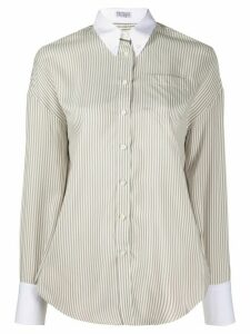 Brunello Cucinelli contrast collar striped silk shirt - NEUTRALS
