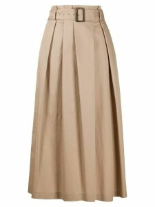 Peserico flared belted midi skirt - NEUTRALS