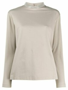 Fabiana Filippi metallic embellished sweatshirt - Grey