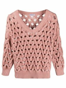 Brunello Cucinelli plaited knit jumper - PINK
