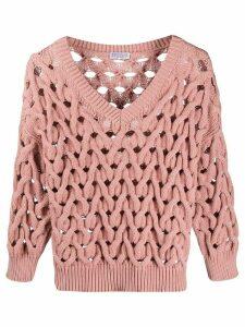 Brunello Cucinelli plaited knit jumper - PINK