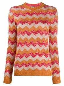 M Missoni zig-zag embroidered jumper - ORANGE