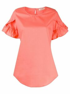 Twin-Set ruffle sleeve curved hem blouse - ORANGE