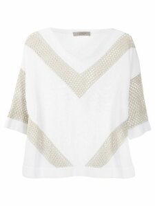 D.Exterior crochet panelled chevron jumper - White