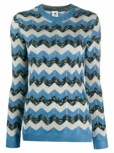 M Missoni zig-zag embroidered jumper - Blue