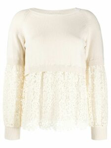 Twin-Set layered-look lace jumper - NEUTRALS