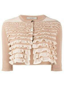 D.Exterior ruffled knited cardigan - NEUTRALS