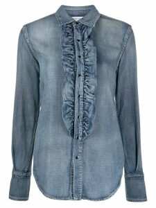 Saint Laurent ruffle detail denim shirt - Blue