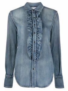 Saint Laurent ruffle detail denim shirt - Blue
