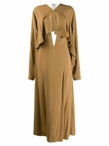 Victoria Beckham long-sleeved draped dress - Brown