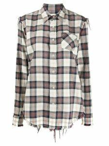 R13 frayed plaid shirt - NEUTRALS