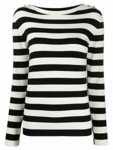 Twin-Set striped rhinestone button jumper - White