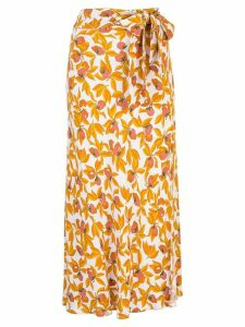 DVF Diane von Furstenberg Lois fruit print midi skirt - White