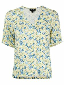 A.P.C. V-neck small floral print top - Yellow