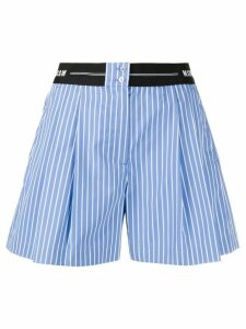 MSGM logo-waistband striped shorts - Blue