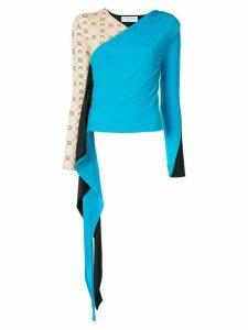 Marine Serre draped detail colour block blouse - NEUTRALS