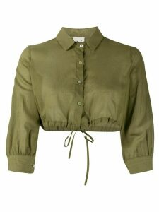 L'Autre Chose drawstring-hem cropped shirt - Green